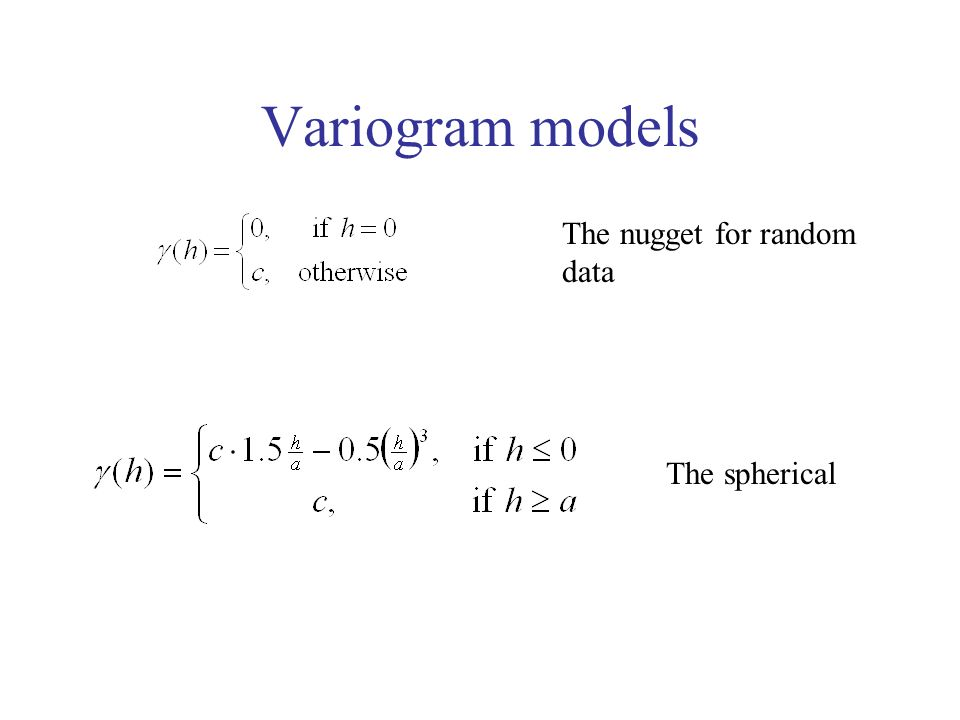 Variogram models The nugget for random data The spherical