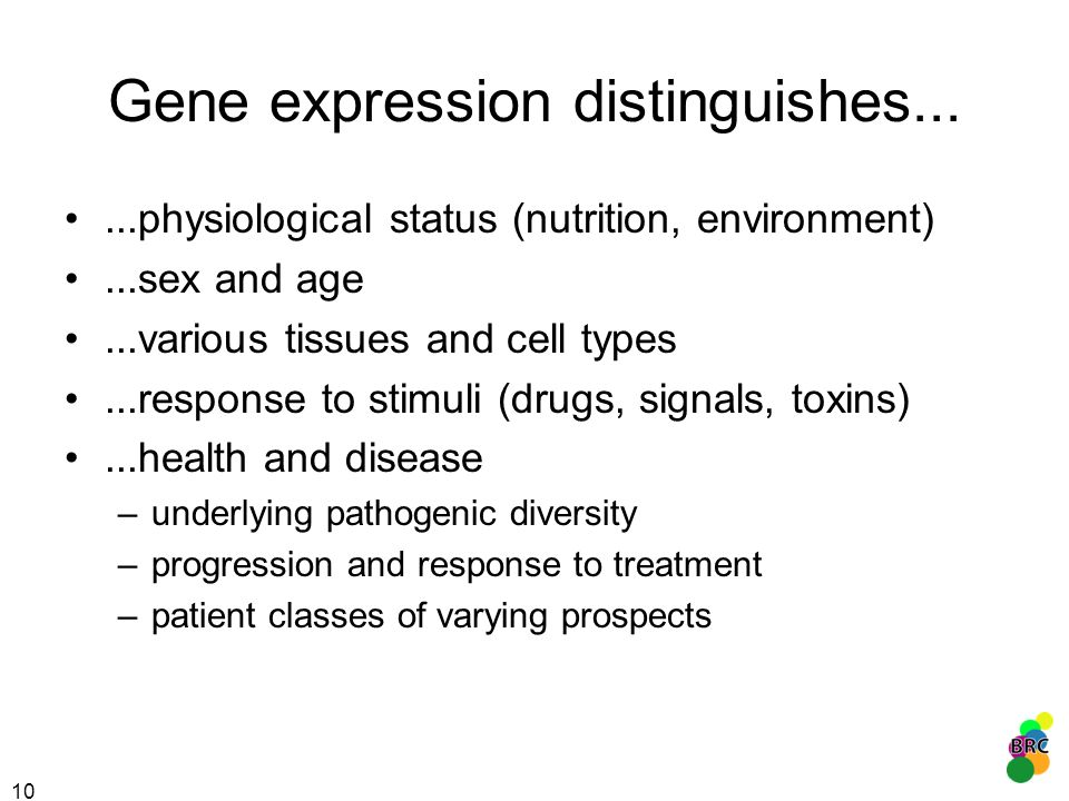 Gene expression distinguishes...