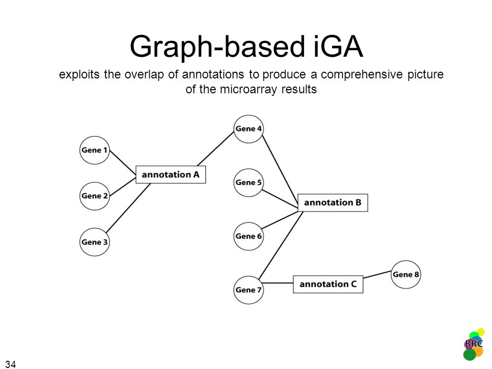 Graph-based iGA exploits the overlap of annotations to produce a comprehensive picture of the microarray results.