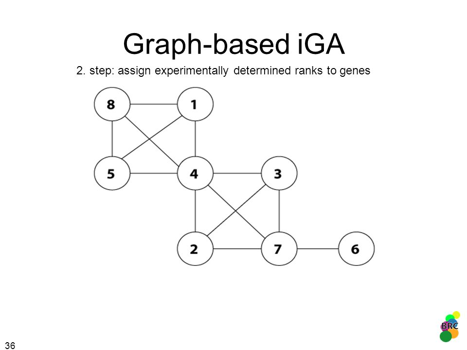 Graph-based iGA 2. step: assign experimentally determined ranks to genes