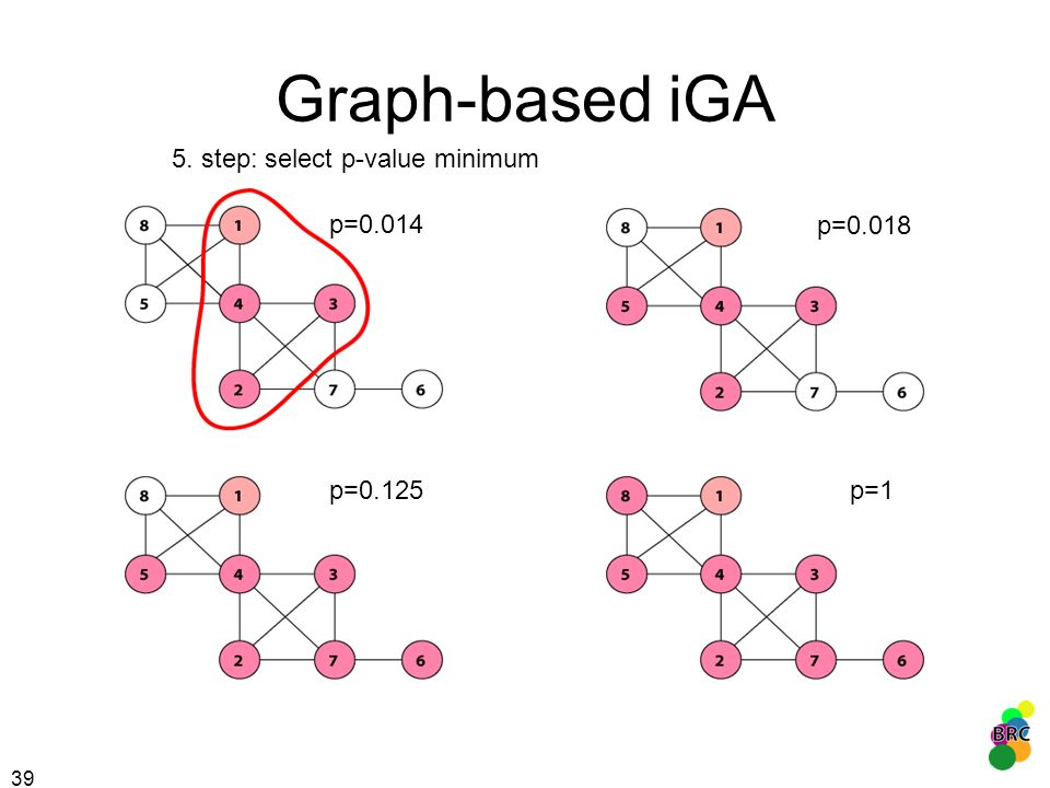 Graph-based iGA 5. step: select p-value minimum p=0.014 p=0.018