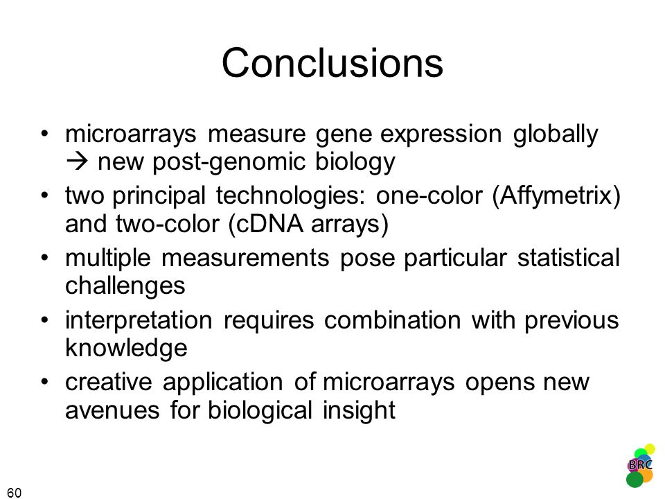 Conclusions microarrays measure gene expression globally  new post-genomic biology.