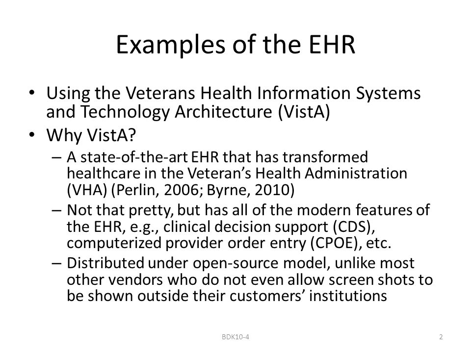 Examples Of The Ehr Bdk Ppt Video Online Download