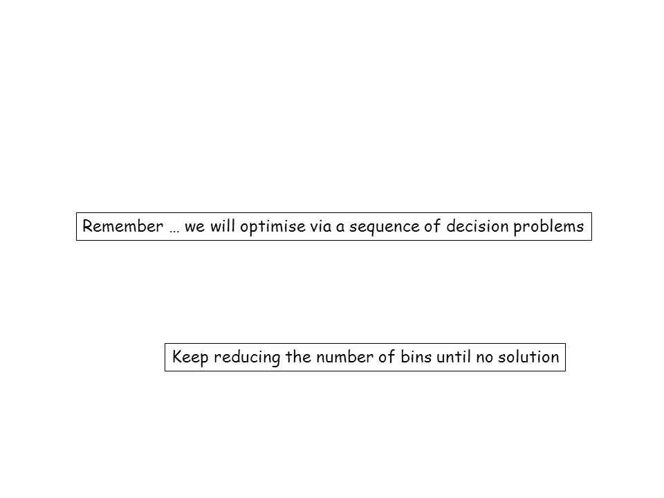 Remember … we will optimise via a sequence of decision problems
