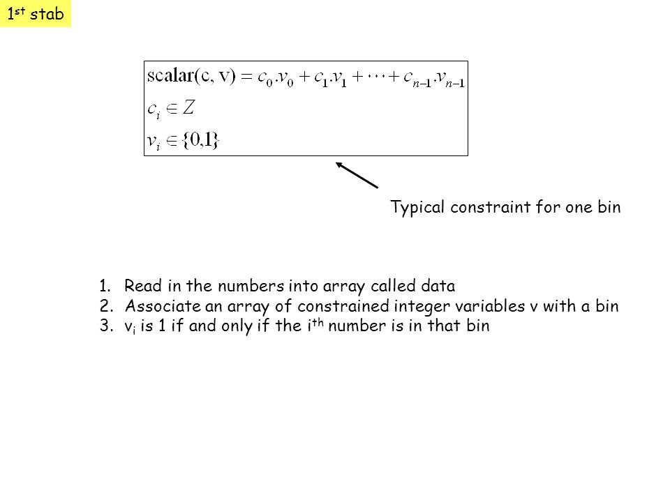 1st stab Typical constraint for one bin. Read in the numbers into array called data.