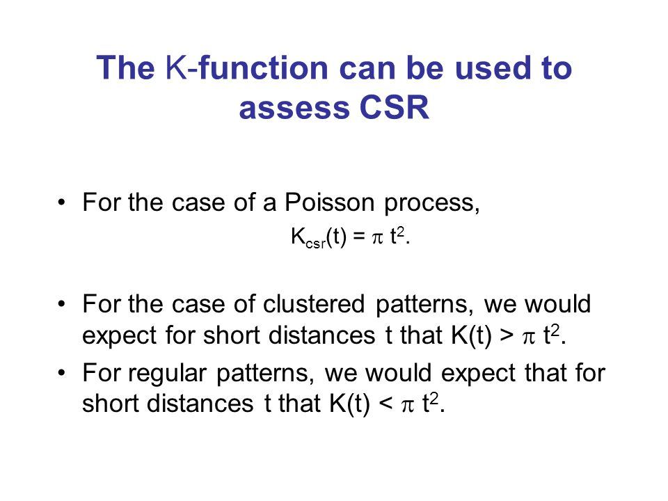 The K-function can be used to assess CSR
