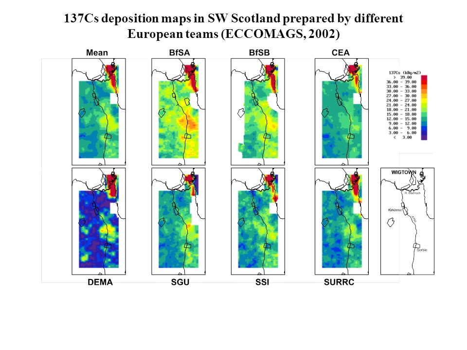 137Cs deposition maps in SW Scotland prepared by different European teams (ECCOMAGS, 2002)