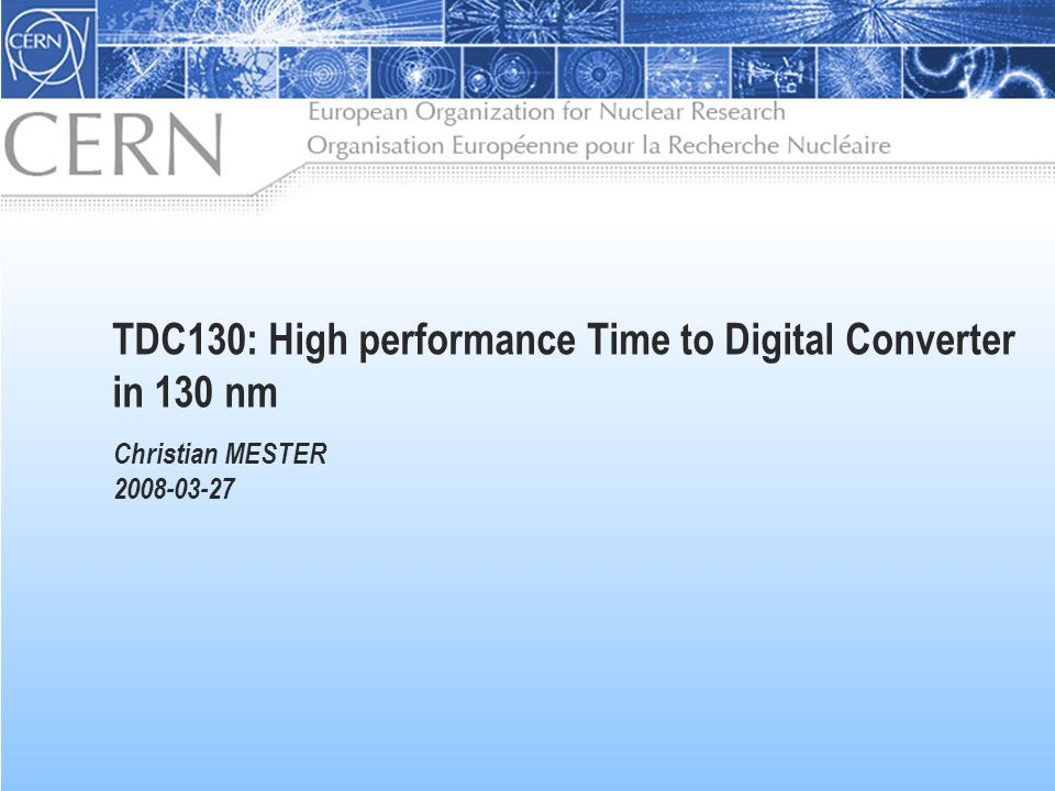 TDC130: High performance Time to Digital Converter in 130 nm