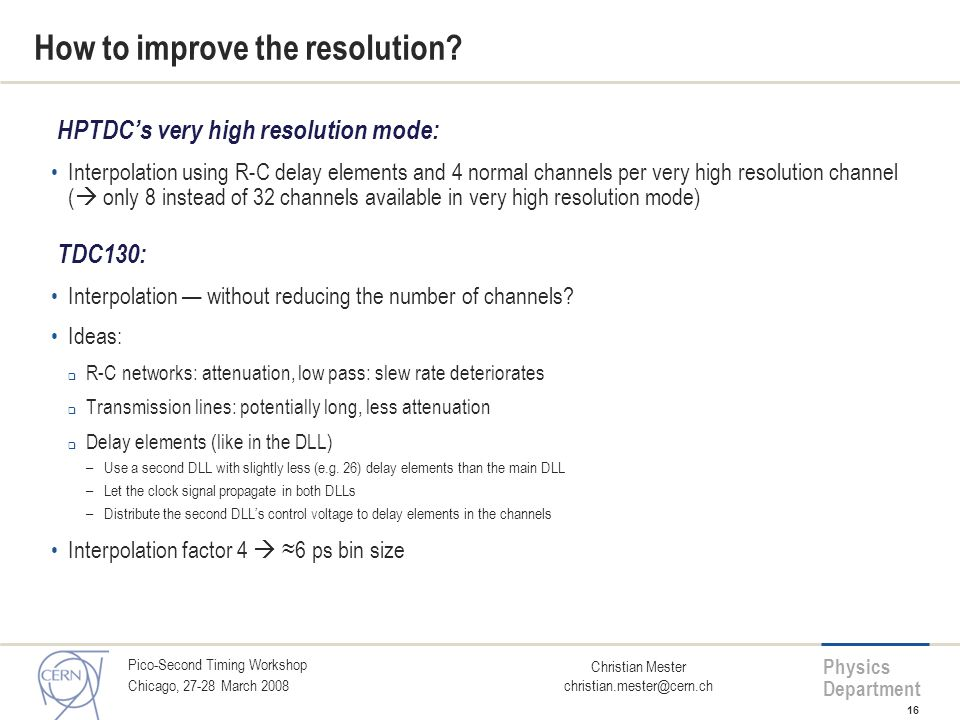 How to improve the resolution
