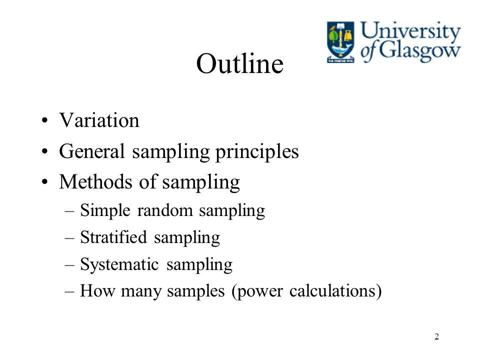 Outline Variation General sampling principles Methods of sampling