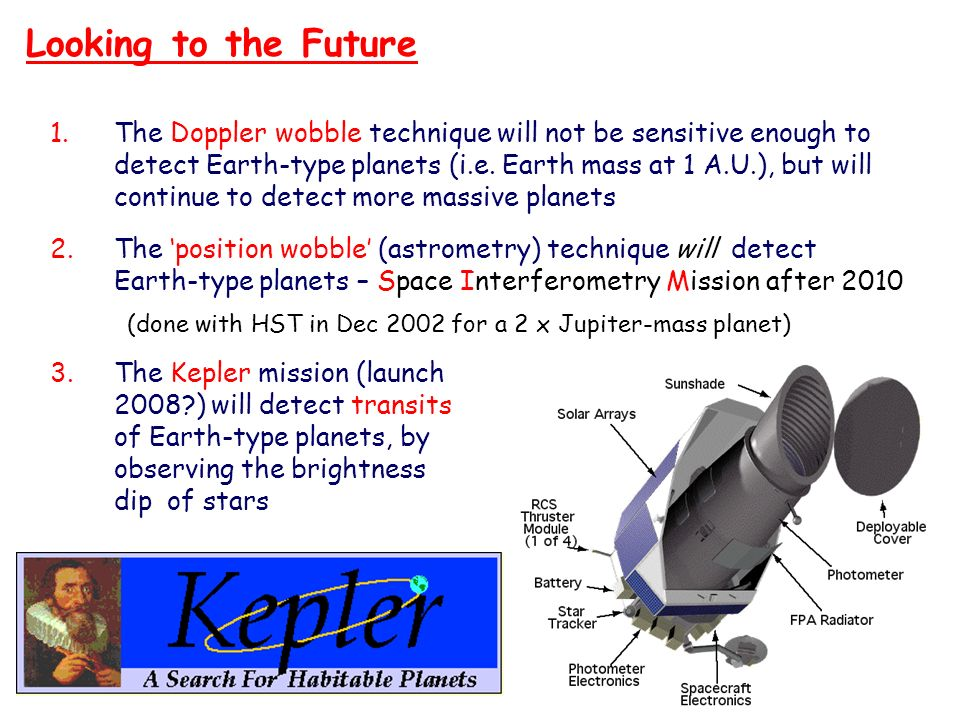 Looking to the Future The Doppler wobble technique will not be sensitive enough to. detect Earth-type planets (i.e. Earth mass at 1 A.U.), but will.