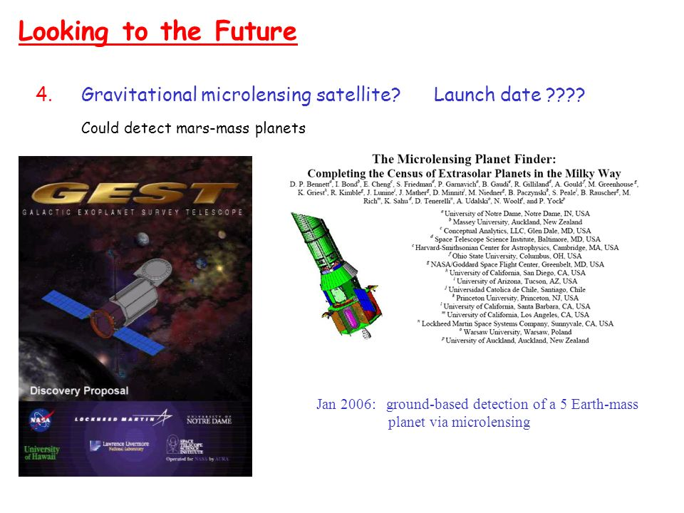 Looking to the Future Gravitational microlensing satellite Launch date Could detect mars-mass planets.