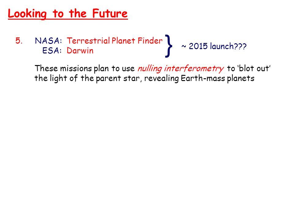 } Looking to the Future NASA: Terrestrial Planet Finder ESA: Darwin
