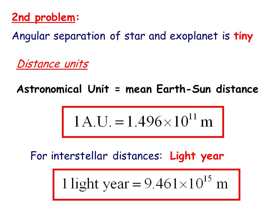 2nd problem: Angular separation of star and exoplanet is tiny. Distance units. Astronomical Unit = mean Earth-Sun distance.