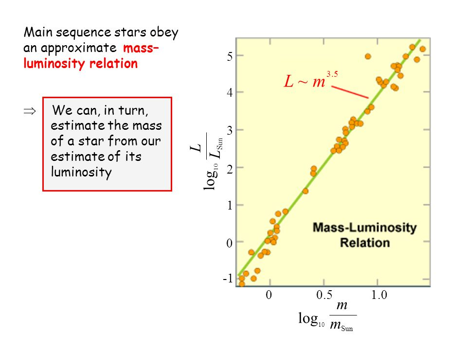 Main sequence stars obey an approximate mass– luminosity relation