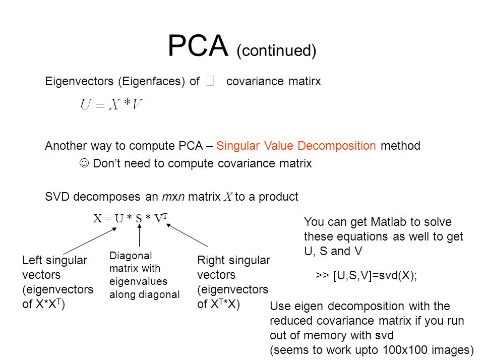 PCA (continued) Eigenvectors (Eigenfaces) of covariance matirx