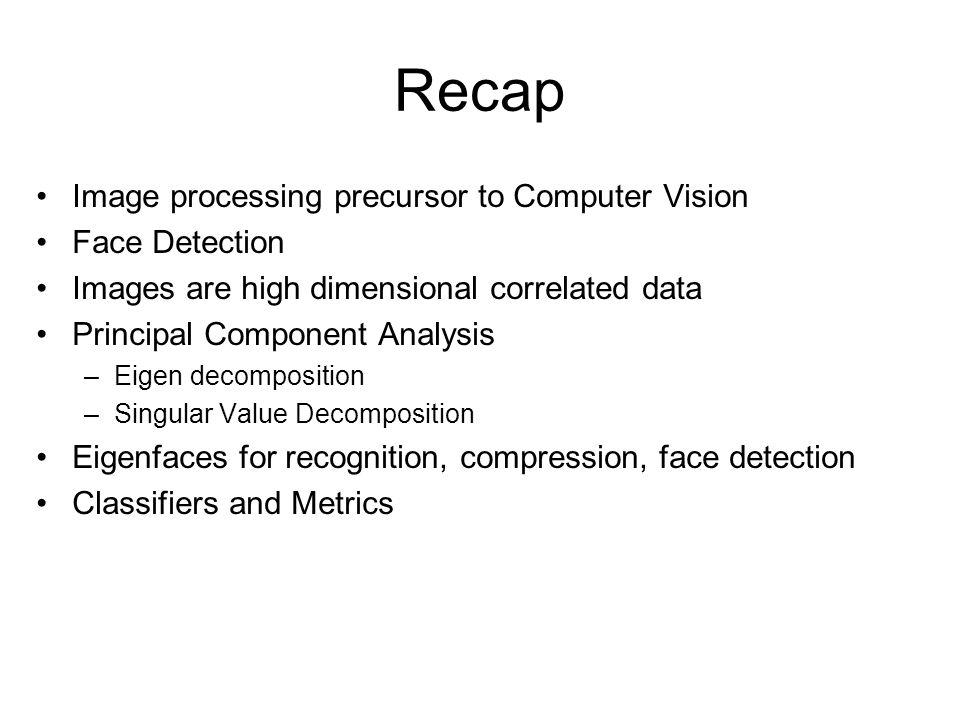 Recap Image processing precursor to Computer Vision Face Detection