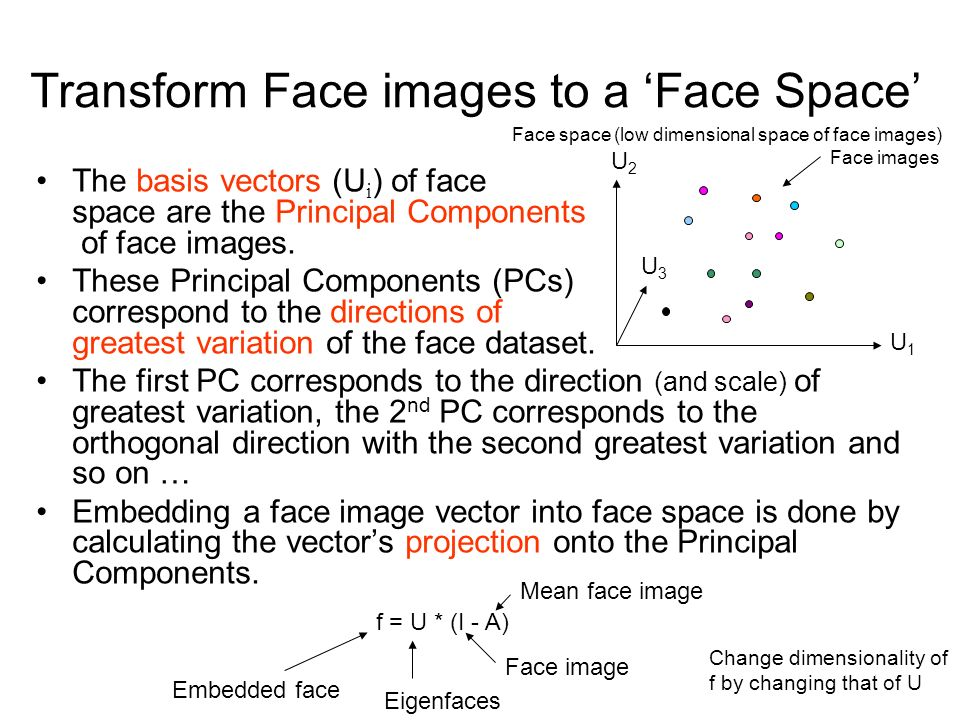 Transform Face images to a 'Face Space'
