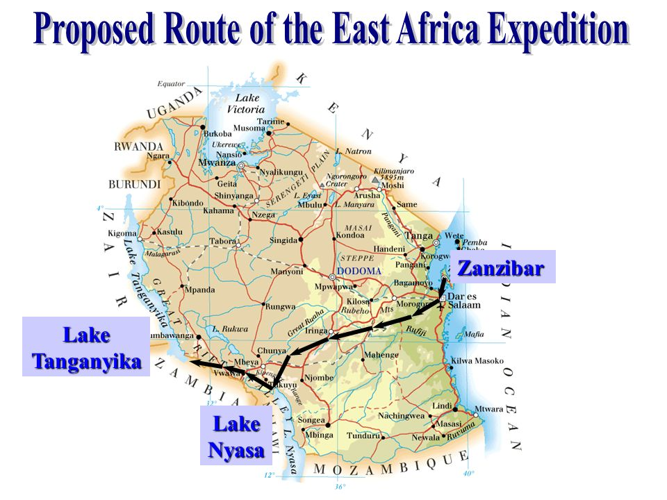 Proposed Route of the East Africa Expedition