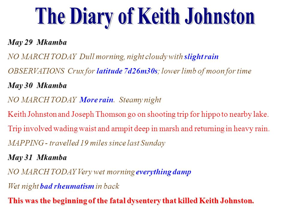The Diary of Keith Johnston