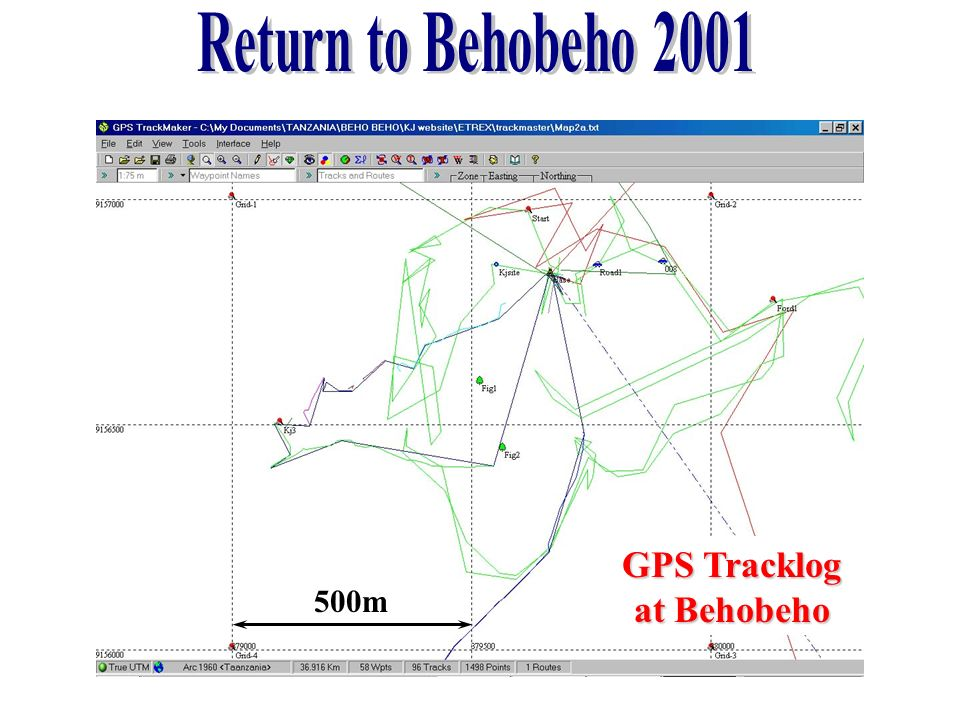 Return to Behobeho 2001 GPS Tracklog at Behobeho 500m
