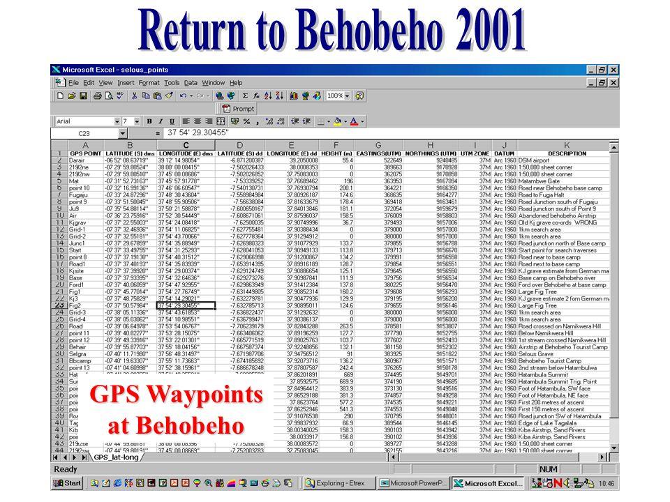 Return to Behobeho 2001 GPS Waypoints at Behobeho