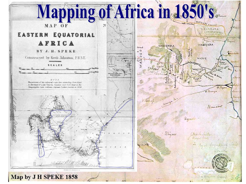 Mapping of Africa in 1850 s Map by J H SPEKE 1858