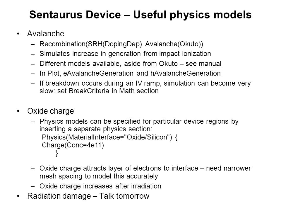 Sentaurus Device – Useful physics models