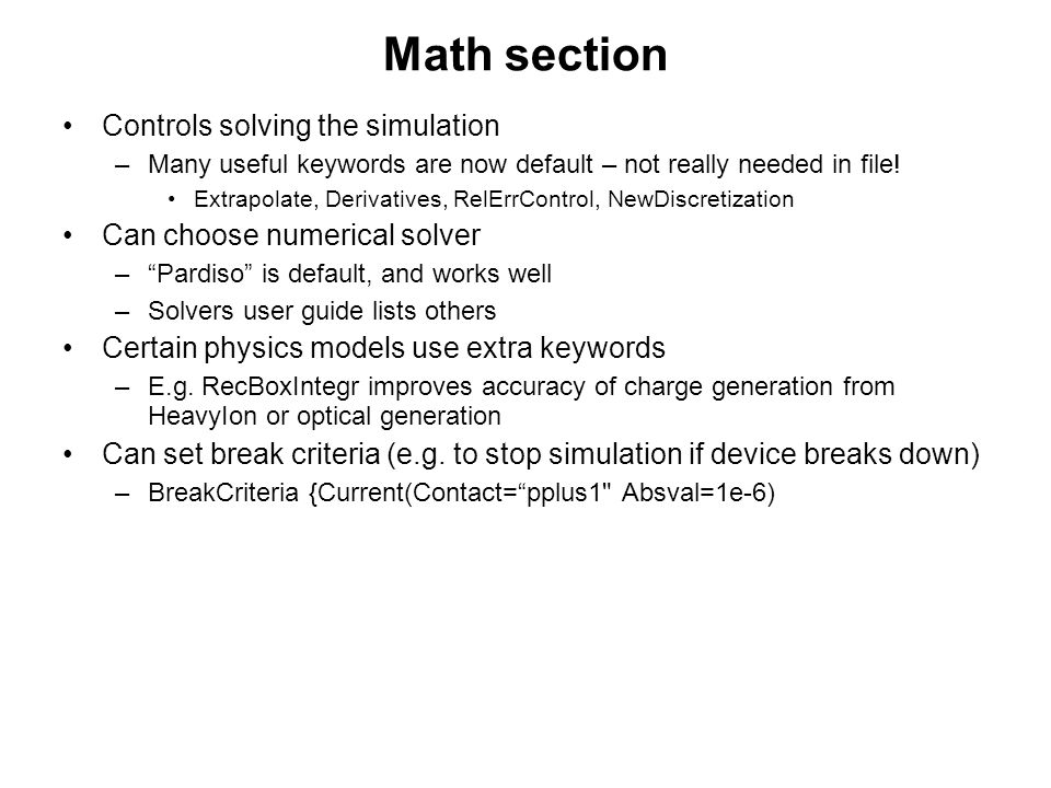 Math section Controls solving the simulation