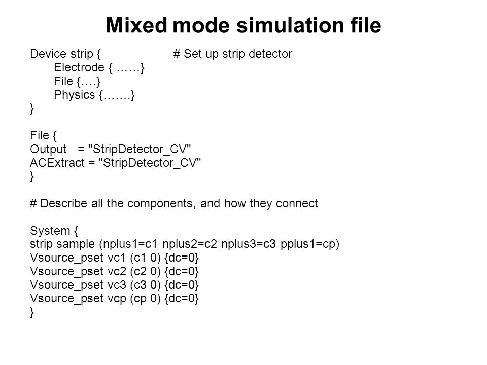 Mixed mode simulation file