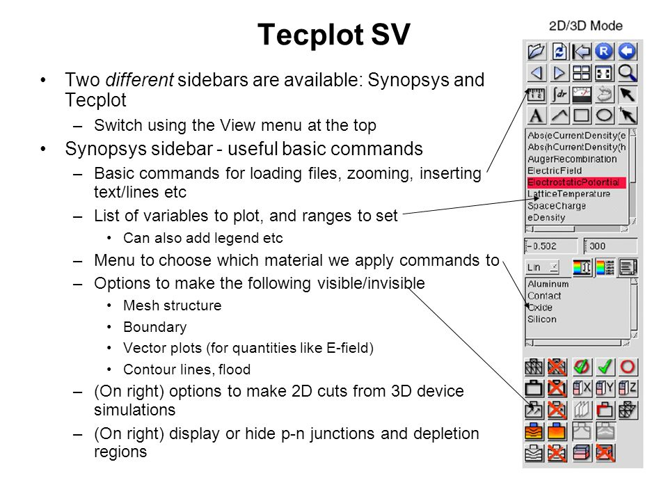 Tecplot SV Two different sidebars are available: Synopsys and Tecplot