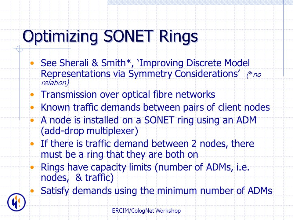 Optimizing SONET Rings