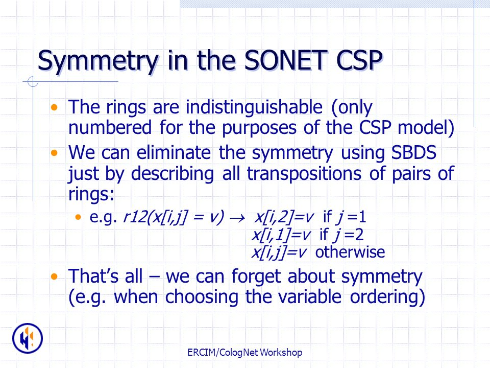 Symmetry in the SONET CSP