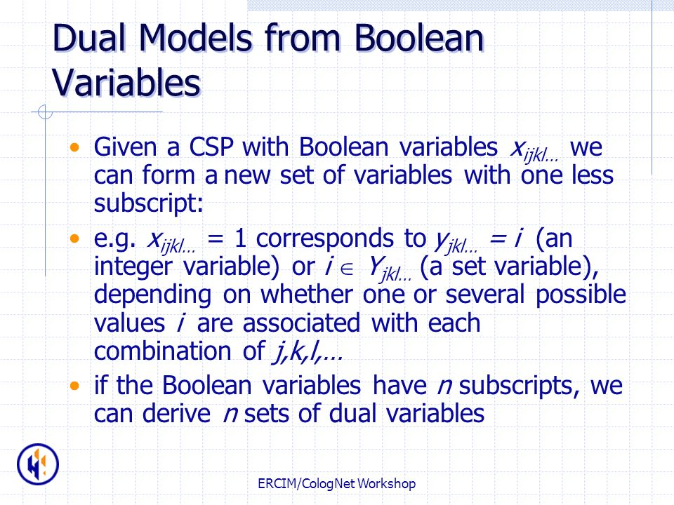 Dual Models from Boolean Variables
