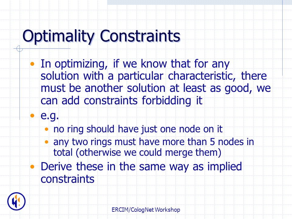 Optimality Constraints