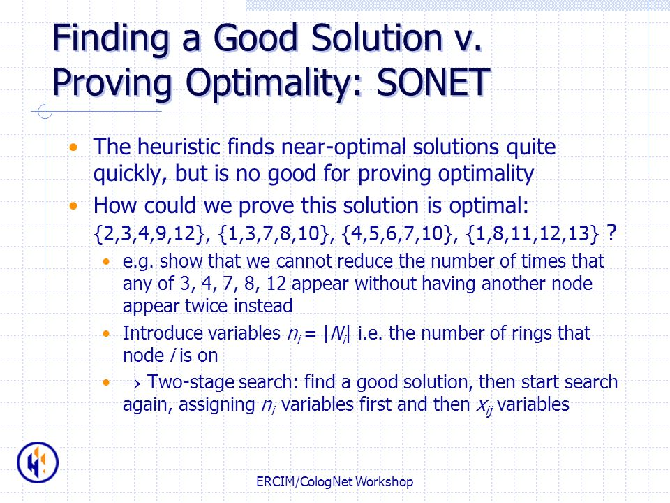 Finding a Good Solution v. Proving Optimality: SONET