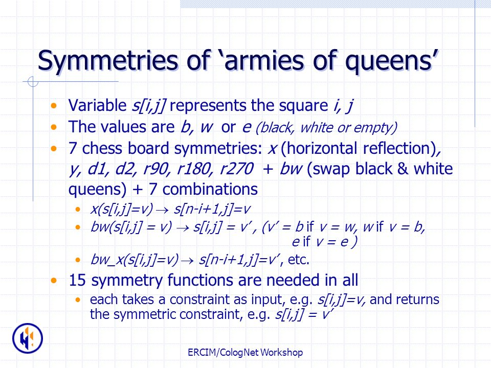 Symmetries of 'armies of queens'