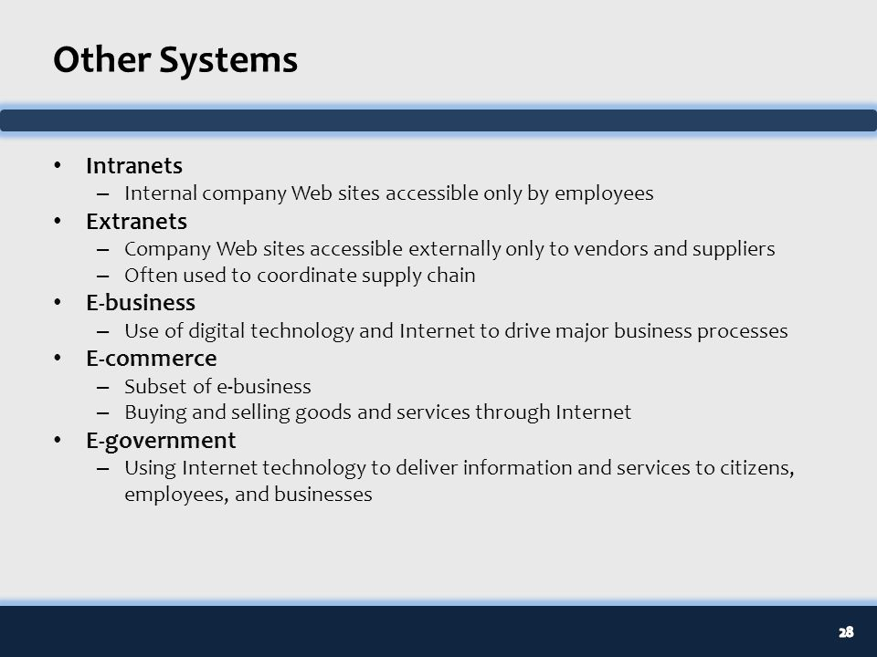 Business Uses of the Internet, Intranets & Extranets