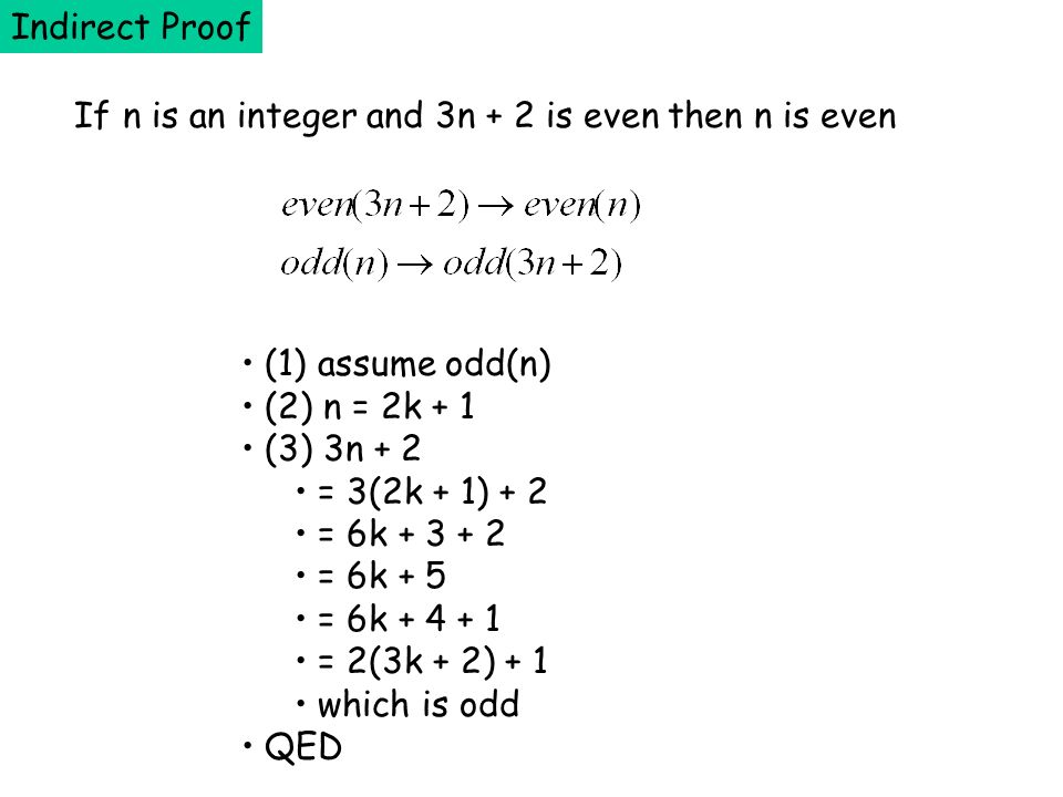 Indirect Proof If n is an integer and 3n + 2 is even then n is even. (1) assume odd(n) (2) n = 2k + 1.