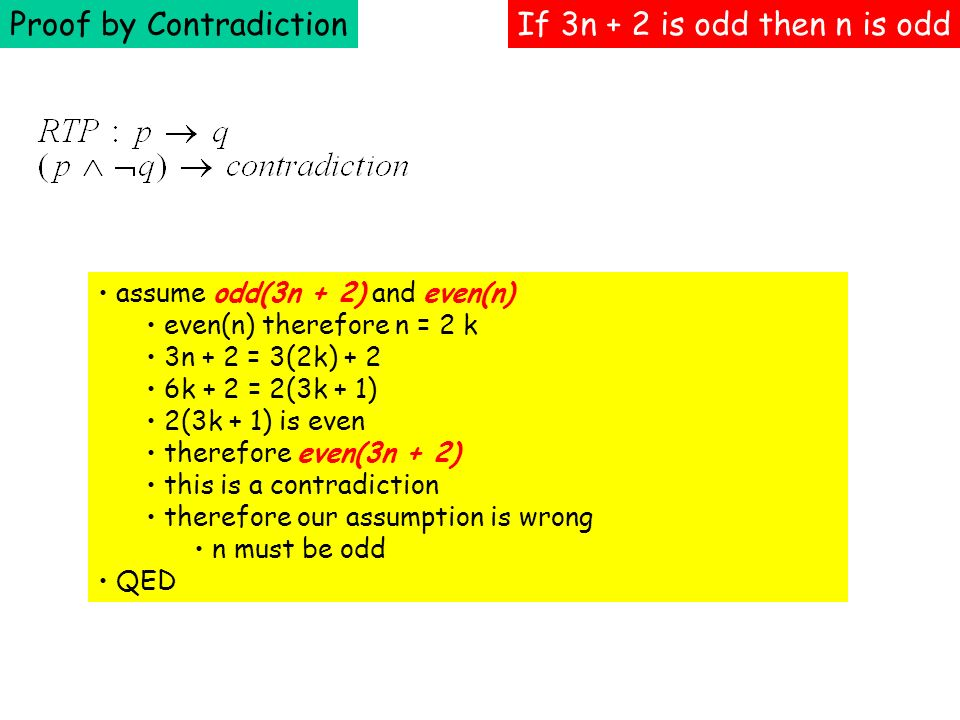 Proof by Contradiction If 3n + 2 is odd then n is odd