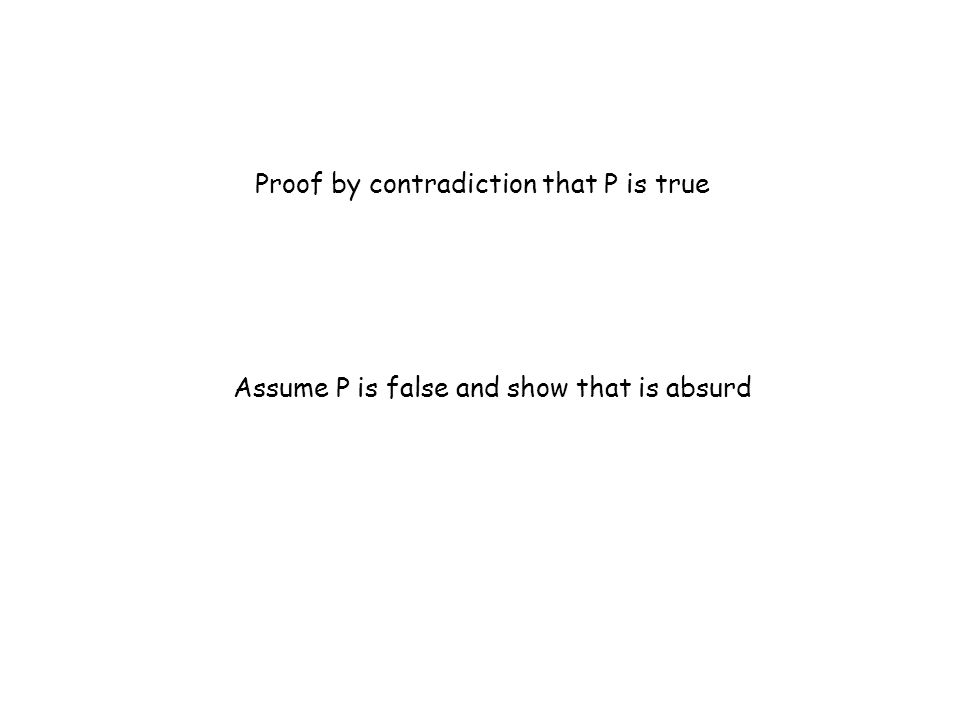 Proof by contradiction that P is true