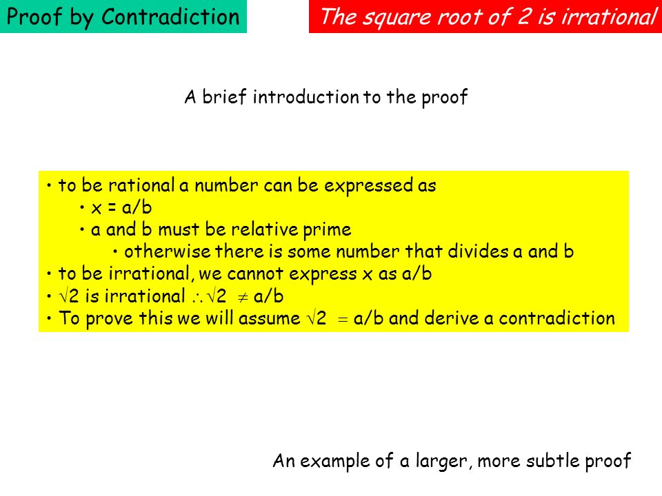 Proof by Contradiction The square root of 2 is irrational