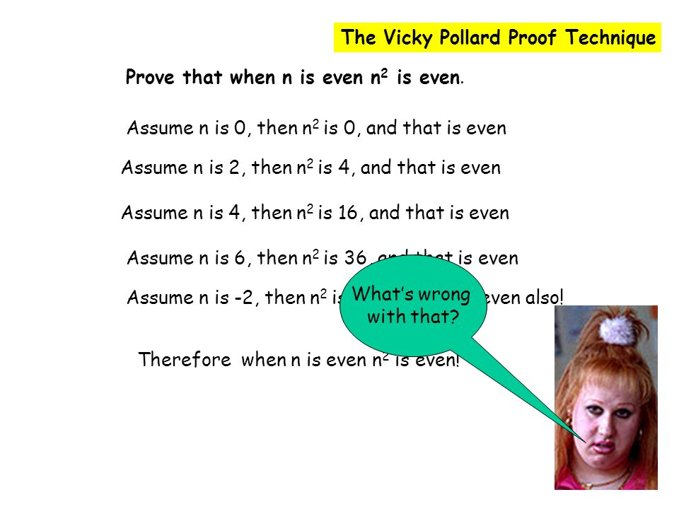 The Vicky Pollard Proof Technique