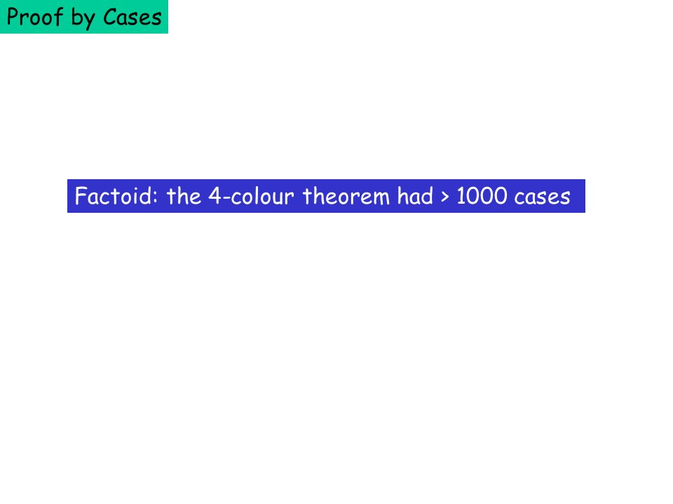 Proof by Cases Factoid: the 4-colour theorem had > 1000 cases