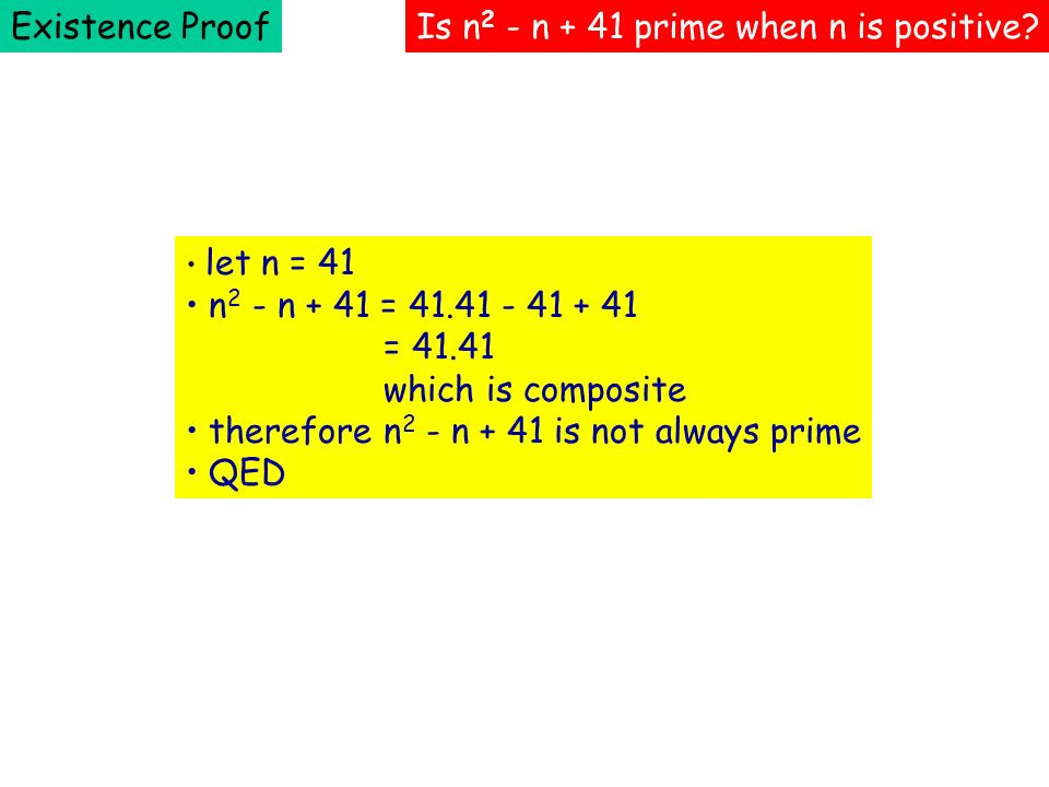 Is n2 - n + 41 prime when n is positive