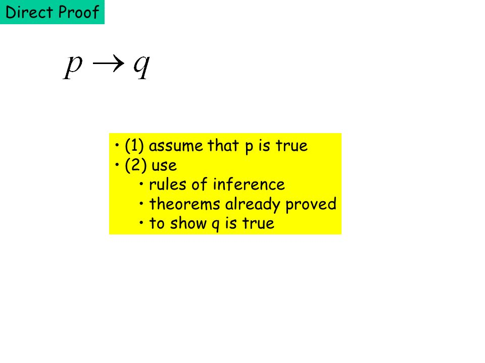 Direct Proof (1) assume that p is true. (2) use.