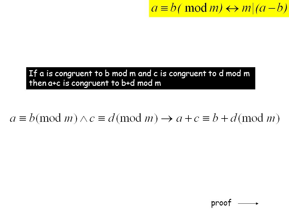 If a is congruent to b mod m and c is congruent to d mod m