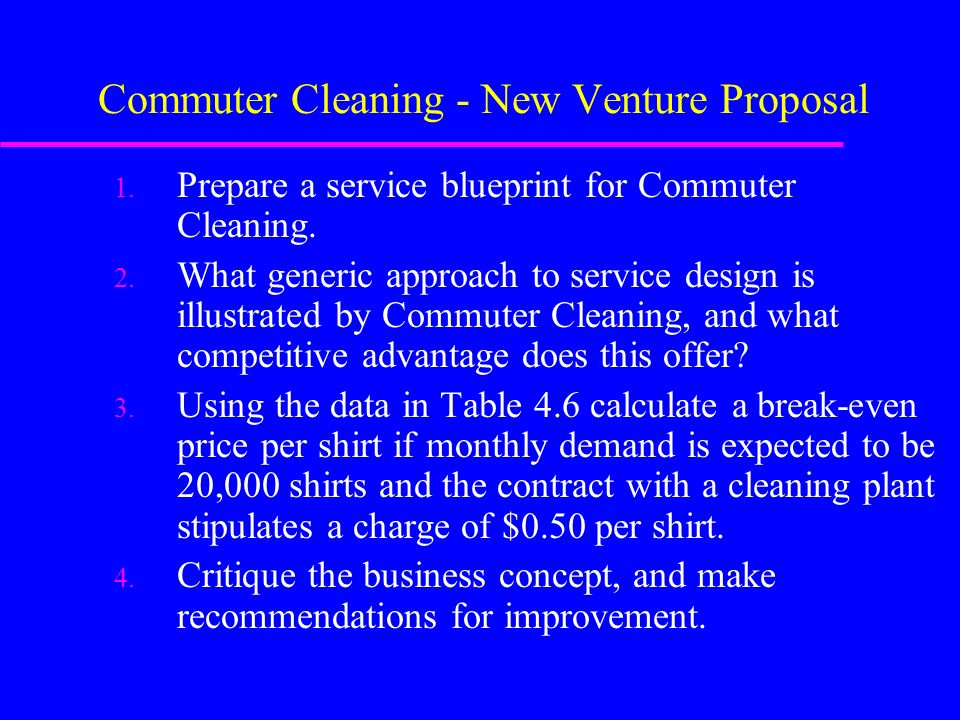 case commuter cleaning new venture proposal The highway in the sky would cost an estimated $8 million to $12 million per mile — less than some urban commuter- and the proposal begs here in new england.