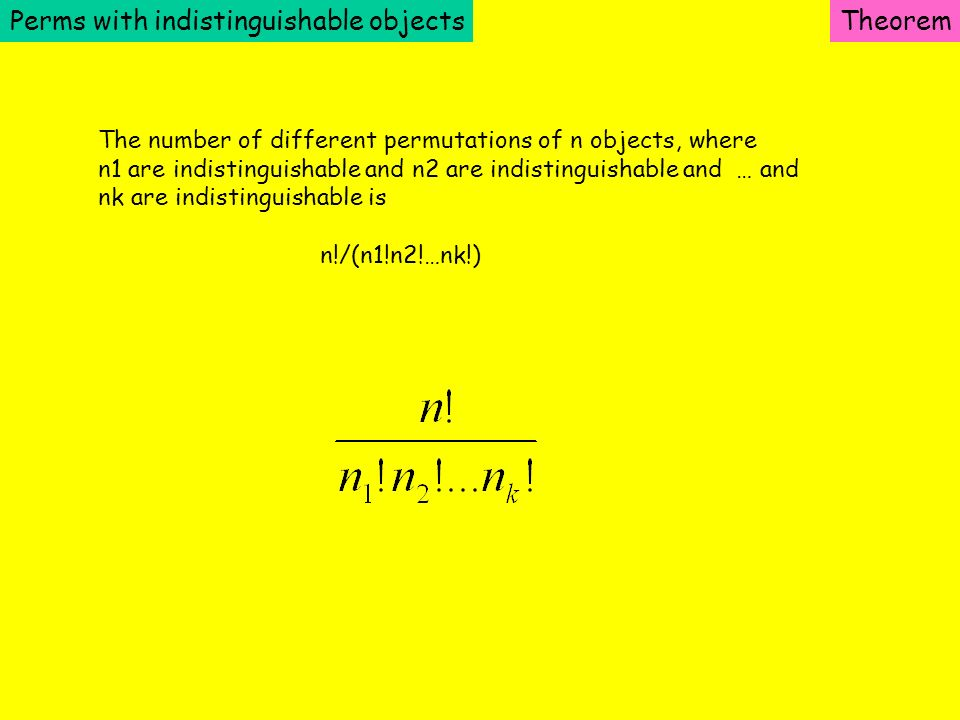 Perms with indistinguishable objects Theorem