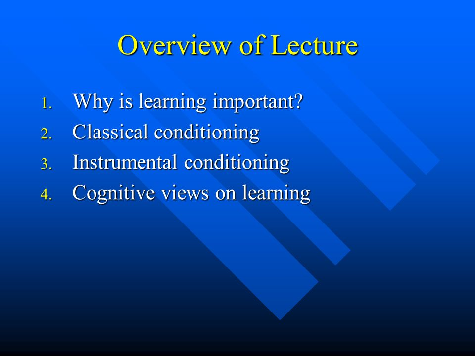 Overview of Lecture Why is learning important Classical conditioning